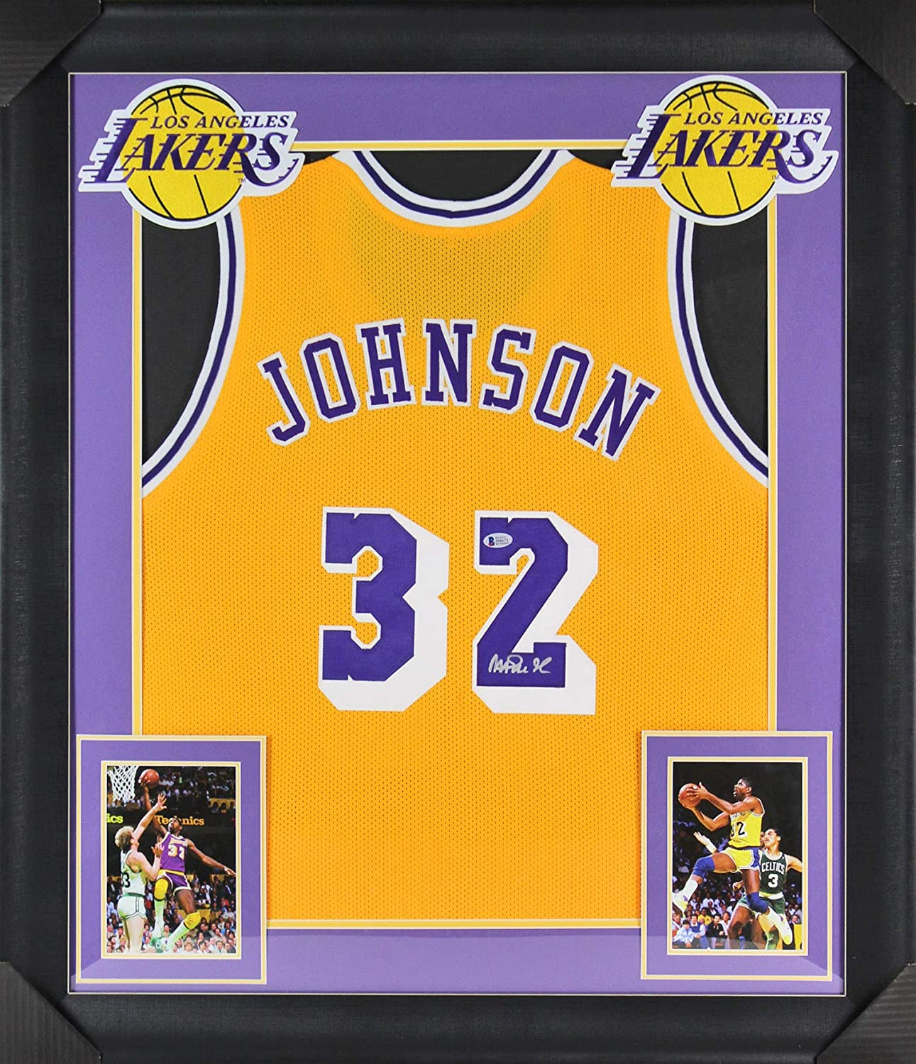 buy popular a3f13 3940c Lakers Magic Johnson Authentic Signed & Framed Yellow Jersey ...