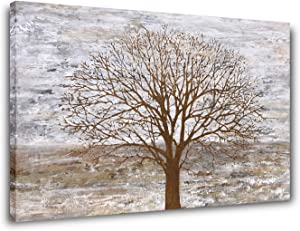 Yihui Arts Large Gray Tree Canvas Wall Art Living Room Big Art Picture Painting Abstract Nature Landscape Decoration Modern Framed Artwork Home Office Bedroom Decor