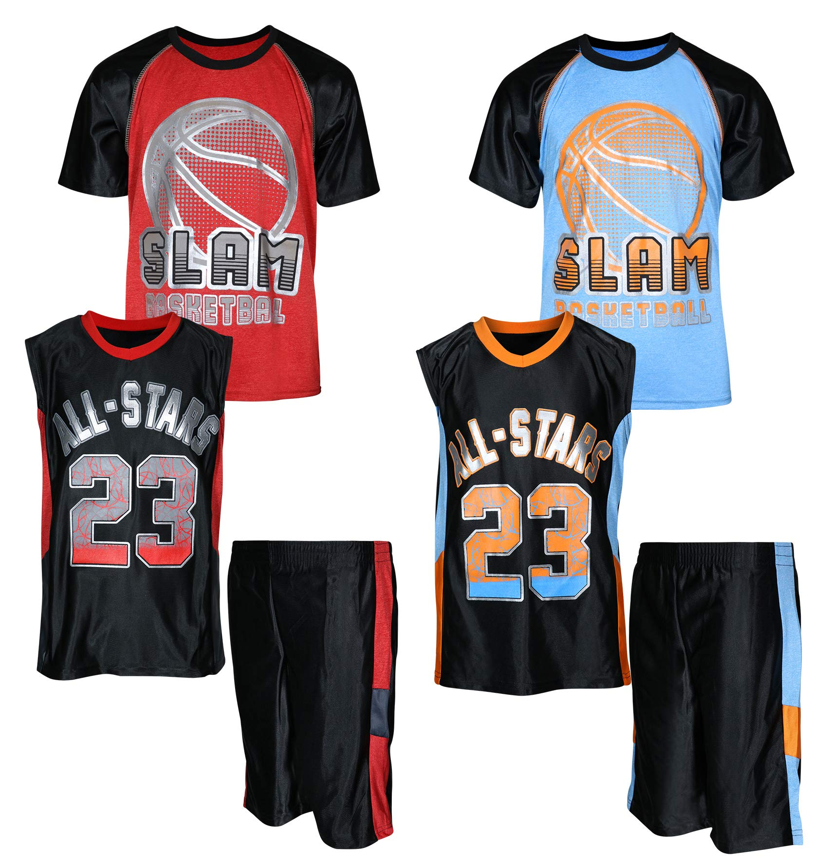 Mad Game Boys' 6-Piece Performance Basketball Shirt and Short Set (2 Full Sets), All Stars, Size 4T'