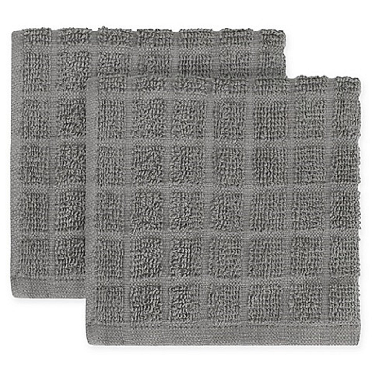 KitchenSmart Colors 2-Pack Solid Windowpane Dish Cloth in Grey
