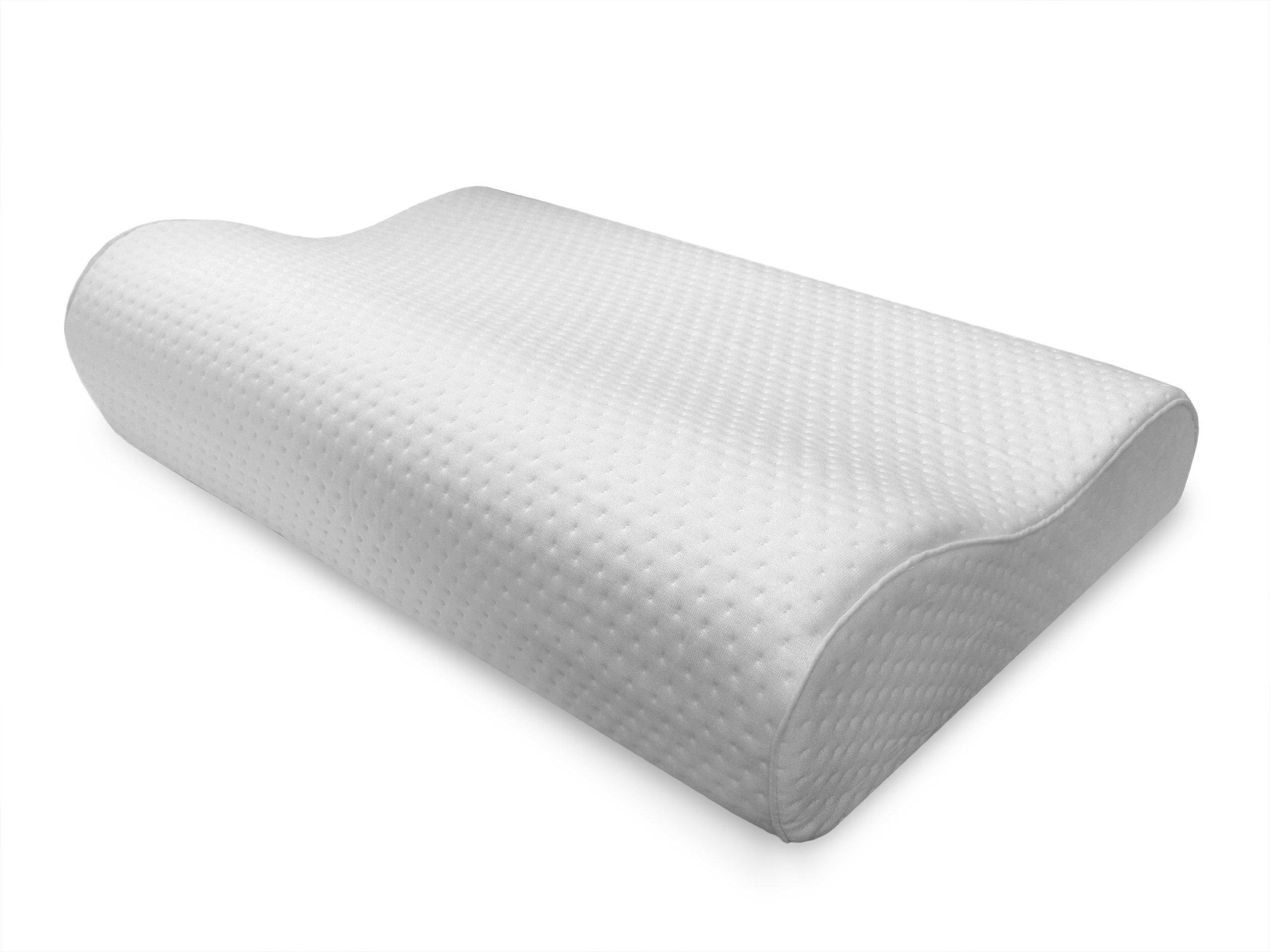 Sensorpedic Luxury Extraordinaire Contour Memory Foam Neck Pillow with Ventilated Icool Technology, Jumbo Size, White