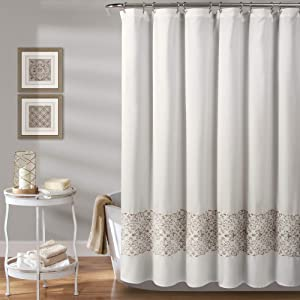 MISC Beige Embroider Shower Curtain, Horizontal Floral Scroll Vine Embroidered Pattern, Farmhouse Feminine Bathroom Decor, Polyester 72x72