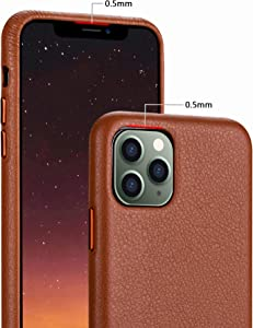 iPhone 11 pro max Case Rejazz Anti-Scratch Iphone11 pro Cover Genuine Leather Apple iPhone Cases for iPhone 11 pro max (6.5 Inch) (Brown)