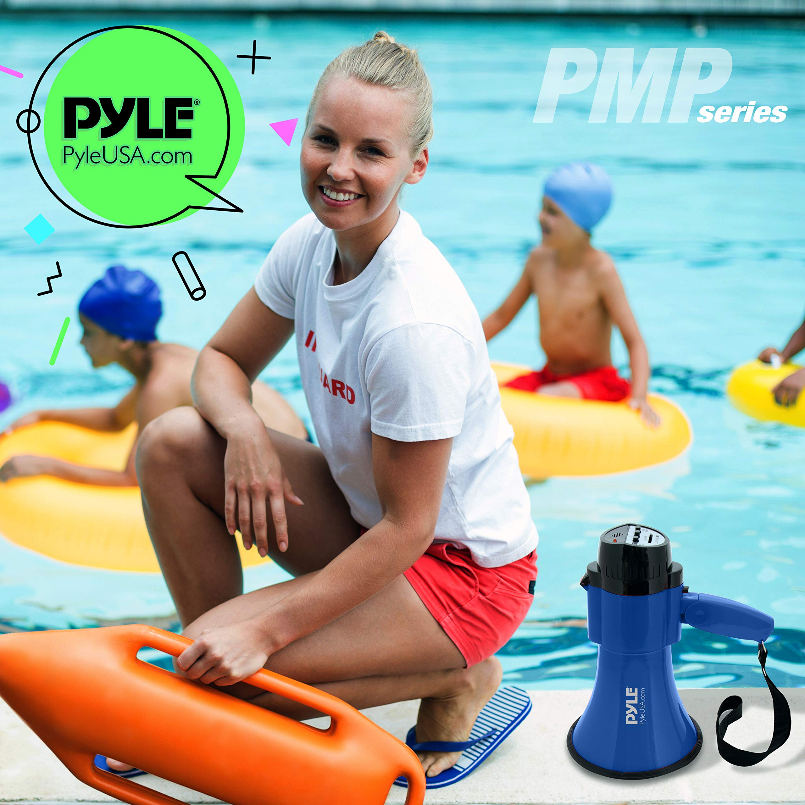 Portable Megaphone Speaker Siren Bullhorn - Compact and Battery Operated with 30 Watt Power, Microphone, 2 Modes, PA Sound and Foldable Handle for Cheerleading and Police Use - Pyle PMP31BL (Blue) by Pyle (Image #7)