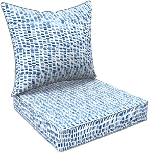 """LVTXIII Outdoor Deep Seat Cushion Patio Seat and Back Cushion Set All-Weather Replacement Chair Cushion for Dining Arm Chairs, Wicker Chairs and Garden Furniture Decoration, 25""""x25""""x5"""" , Pebble Blue"""