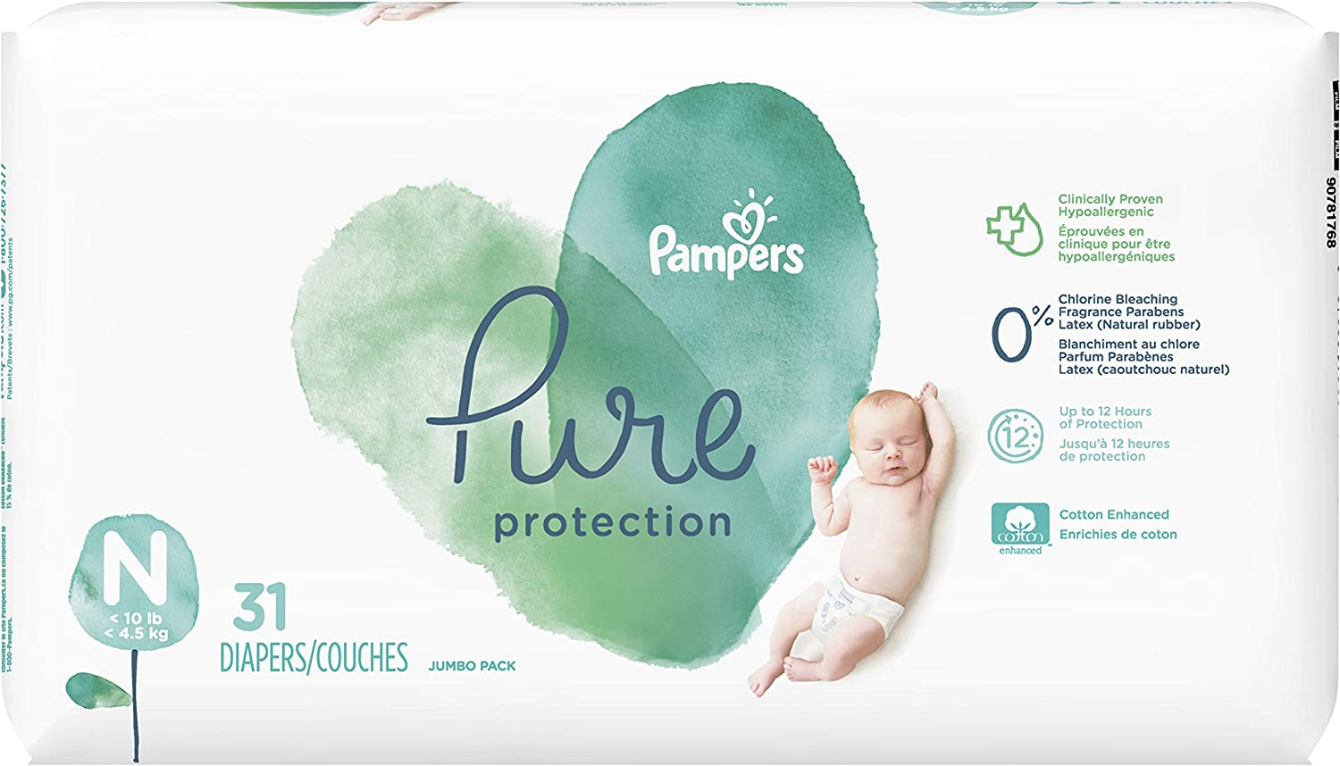 Diapers Newborn/Size 0 (<10 lb), 31 Count - Pampers Pure Protection Disposable Baby Diapers, Jumbo Pack