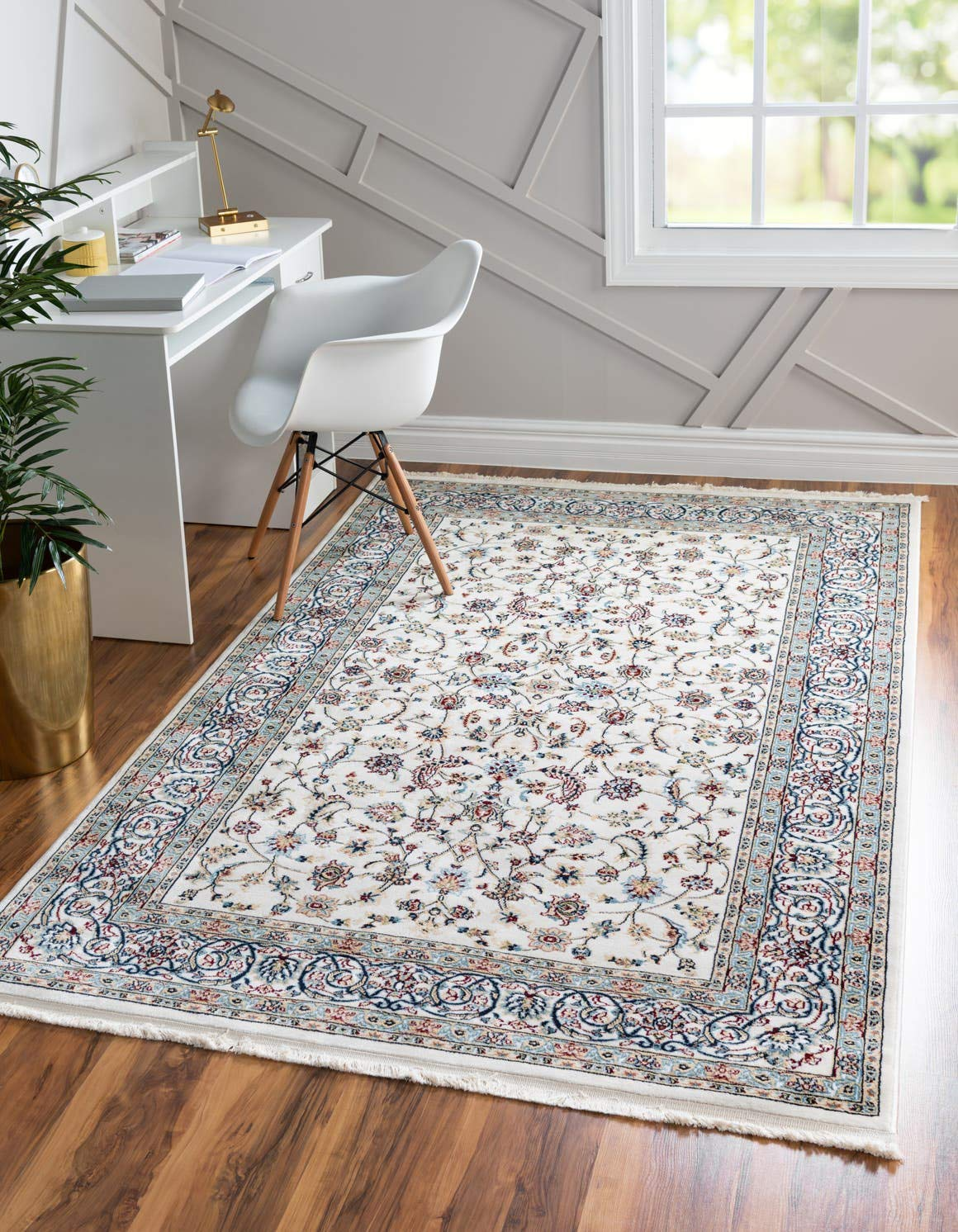 Unique Loom Narenj Collection Classic Traditional Repeating Pattern Ivory Area Rug 5 0 x 8 0