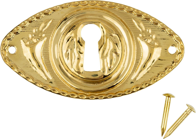 Oblong Stamped Brass Decorative Keyhole Cover | 2 1/2