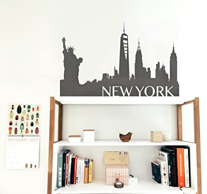 amazon com new york city skyline silhouette wall decal decor by
