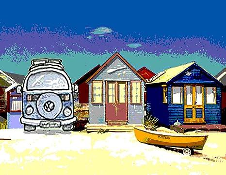 Diseño de casetas de playa playa paisaje lienzo 16 x 20 pulgadas montado sobre un bastidor
