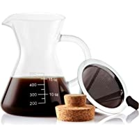 Apace Living Pour Over Coffee Maker Set w/Coffee Scoop and Cork Lid - Elegant Coffee Dripper Pot w/Glass Carafe & Permanent Stainless Steel Filter