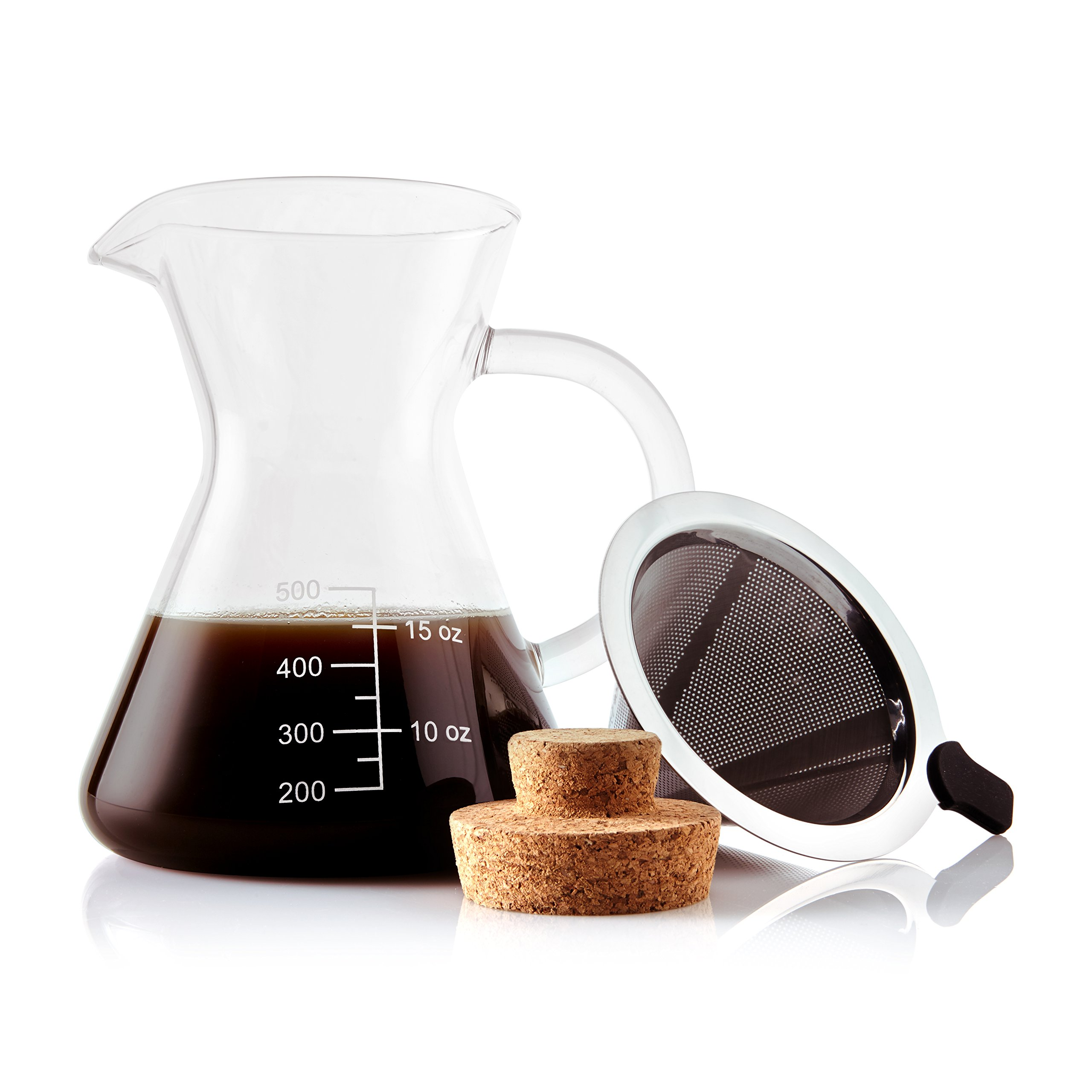 Apace Living Pour Over Coffee Maker Set w/Coffee Scoop and Cork Lid - Elegant Coffee Dripper Pot w/Glass Carafe & Permanent Stainless Steel Filter (400 ml / 13.5 oz)