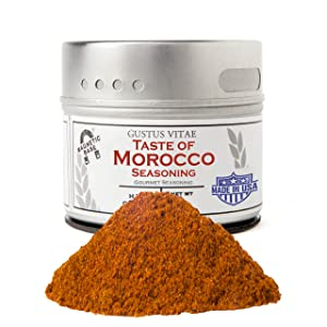 Taste of Morocco - Artisanal Craft Seasoning - Gourmet Spices Blend - Non GMO - 1.2 Ounce - Magnetic Tin - Small Batch - Hand Packed