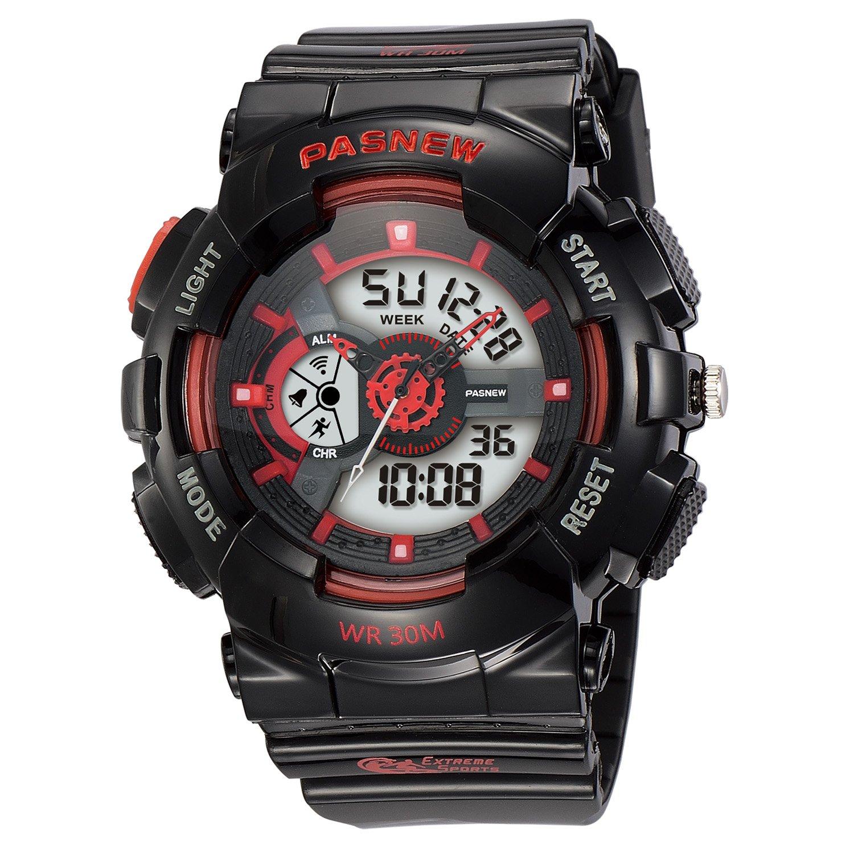 Kid's Quartz Digital Analog Dual Time Waterproof Outdoor Sport Watch for Teenage Boys and Girls Alarm Stopwatch (Black) by Dahery
