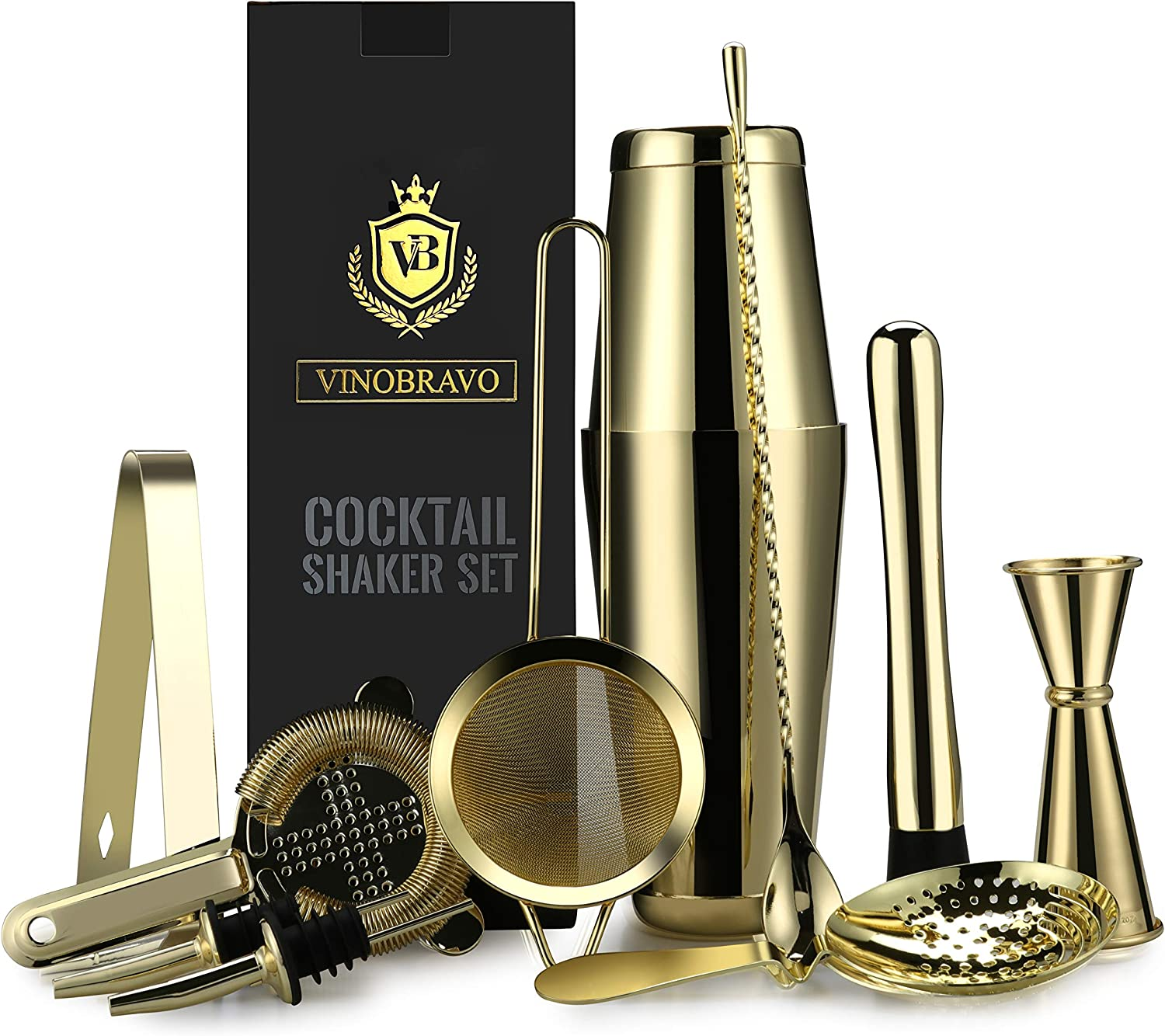 11-Piece Boston Cocktail Shaker Bar Set by VinoBravo: 2 Weighted Shaker Tins Gold Strainer Set 2 Liquor Pourers /& Cocktail Recipe Guide Bar Spoon Double Jigger Ice Muddler /& Tong