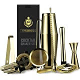 11-Piece Bartender Kit Boston Cocktail Shaker Bar Set by VinoBravo : 2 Weighted Shaker Tins, Strainer Set, Double Jigger…
