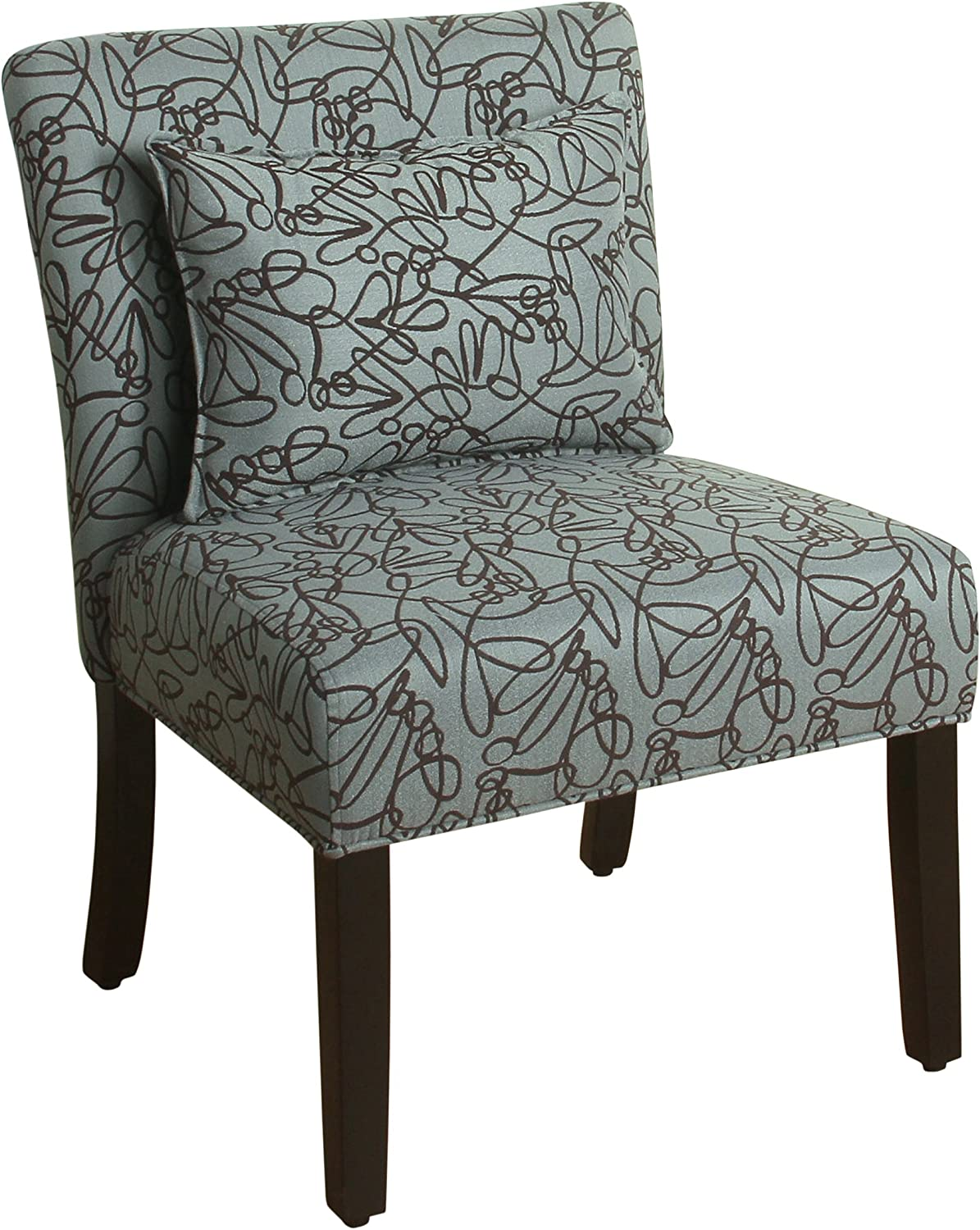 HomePop Parker Accent Chair with Pillow, Teal Swirl