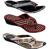 GIGANTIC PM Traders Multicolor Women Slippers and Flip Flops Women Combo Footwear (3 in 1) (4UK - 9UK)