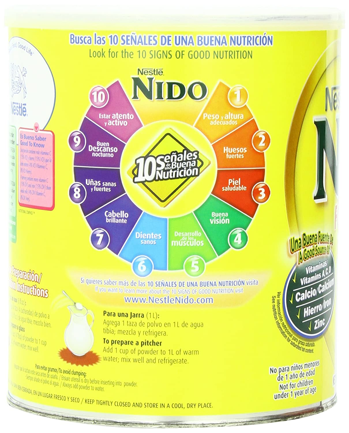 Amazon.com : Nestle Nido Instant Dry Whole Milk Powder, Fortificada, 1.76  Pound Can : Grocery & Gourmet Food