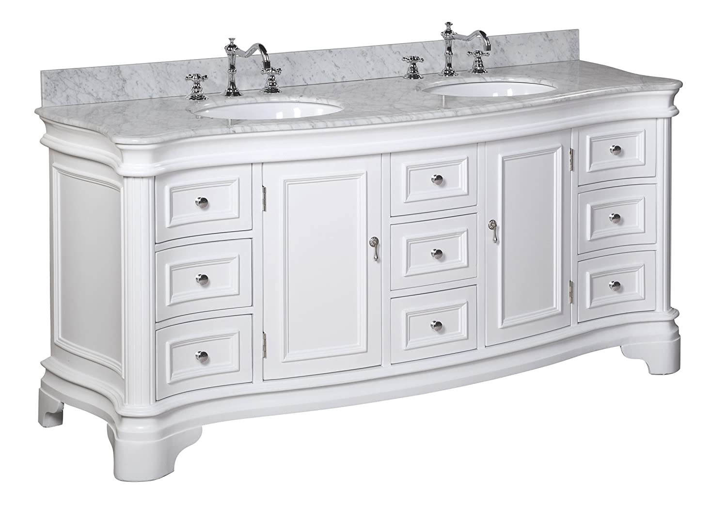 Katherine 72-inch Double Vanity Carrara White Includes White Cabinet with Authentic Italian Carrara Marble Countertop and White Ceramic Sinks