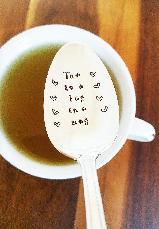 Tea Drinker - Tea is a Hug in a Mug - Hand Stamped Spoon - Gift under 50