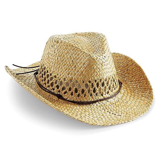 8d8006b8c5 Amazon.com  Beechfield Unisex Straw Cowboy Hat (One Size) (Natural)   Clothing