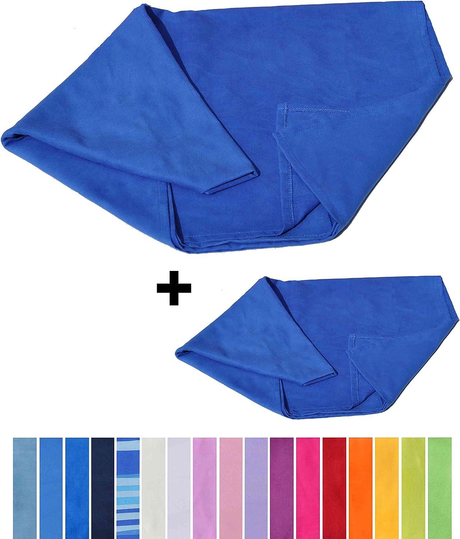 Blu Mare 1 cm 50x100 CASA TESSILE Coppia Asciugamani in Microfibra 1 cm 40x60