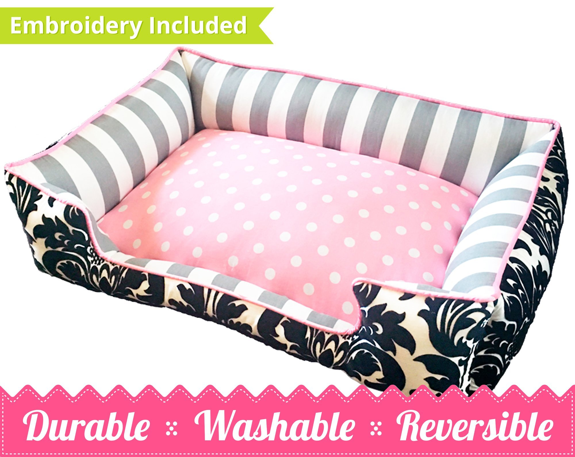 Pink, Grey & Black Damask Pet Bed | Ultimate in Comfort & Design | Bed is Reversible & Washable with a removable cover | Durable | Cat or Dog Bed | Quality Pet Bed | Stripe Dog Bed | Cat Bed