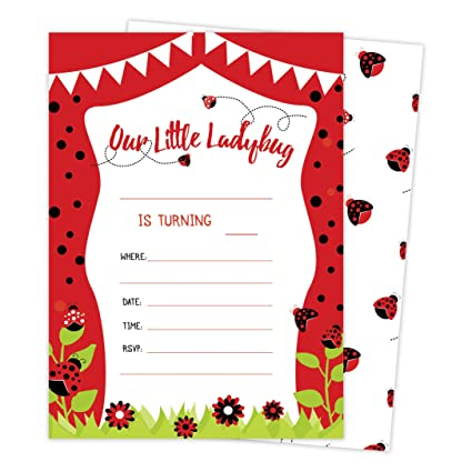 Amazon lady bug style 3 happy birthday invitations invite cards lady bug style 3 happy birthday invitations invite cards 25 count with envelopes filmwisefo