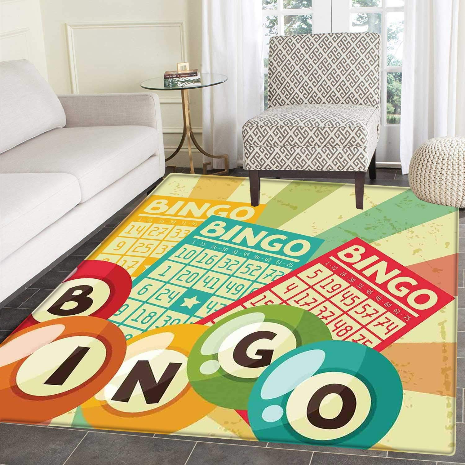 Vintage Anti-Skid Area Rug Bingo Game with Ball and Cards Pop Art Stylized Lottery Hobby Celebration Theme Soft Area Rugs 4'x6' Multicolor by Carl Morris