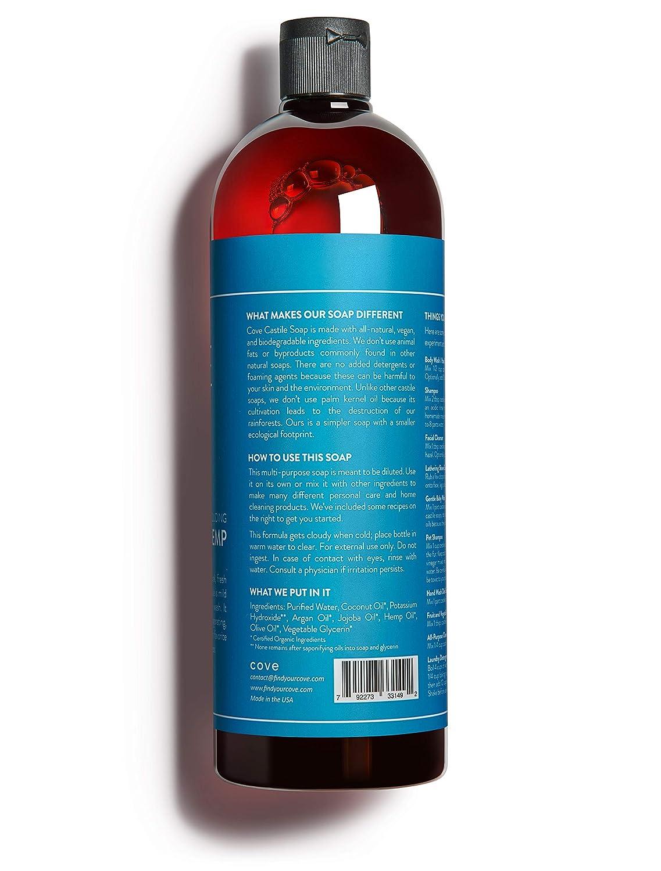 Cove Castile Soap Unscented – 33.8 oz 1 Liter – Organic Argan, Hemp, Jojoba Oils