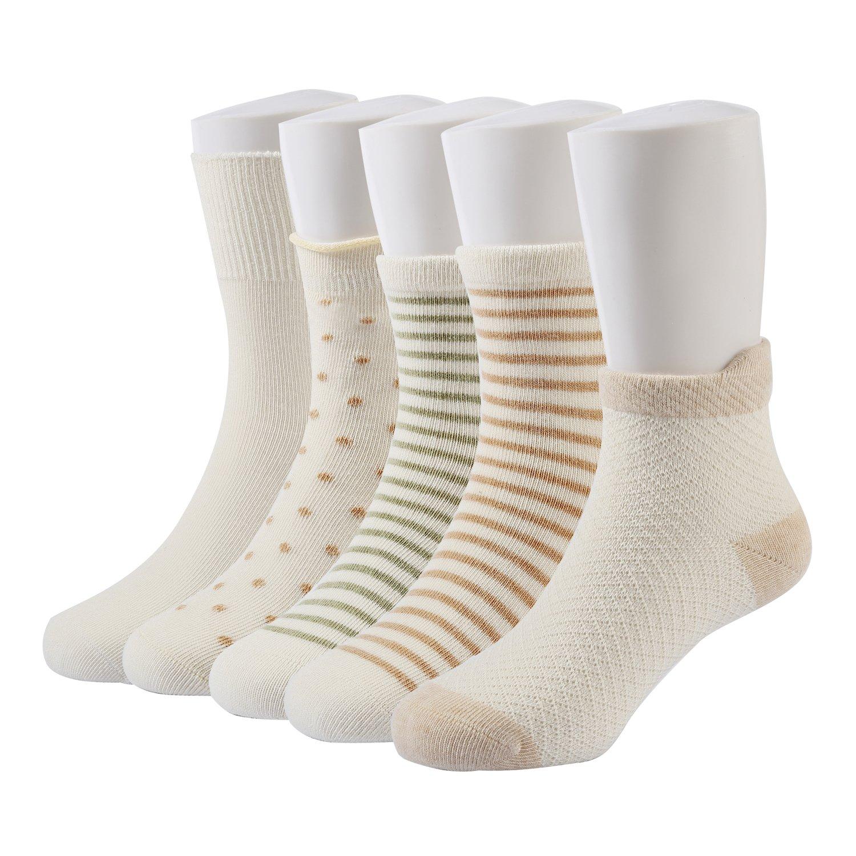 SNUOEN GOTS Certified Toddler Unisex Organic Natural Colorful Cotton Socks No Bleach No Dye Healthy Fashion Kids Socks