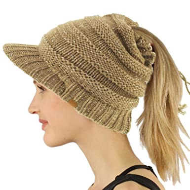 dd3e964b35a05 SK Hat shop Everyday Open Top Messy Bun Ponytail Stretchy Knit Visor Beanie  Skull Hat - Brown -  Amazon.co.uk  Clothing