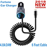 Fortune 24W 4.8A Car Charger Adapter 6 Feet Retractile Coiled Lightning Cable & Extra USB Port For iPhone X 8 7 6S 6 Plus 5 SE 5S 5 5C iPad Galaxy S8 S7 S6 Edge Note 8 4 LG HTC Nexus Pixel & Navigator