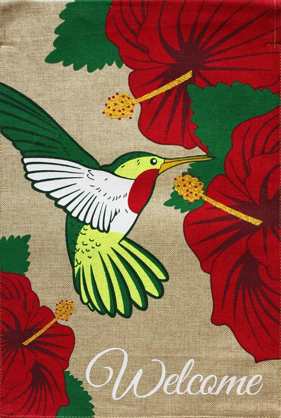 "Briarwood Lane Hummingbird Burlap Spring Garden Flag Welcome Floral 12.5"" x 18"""