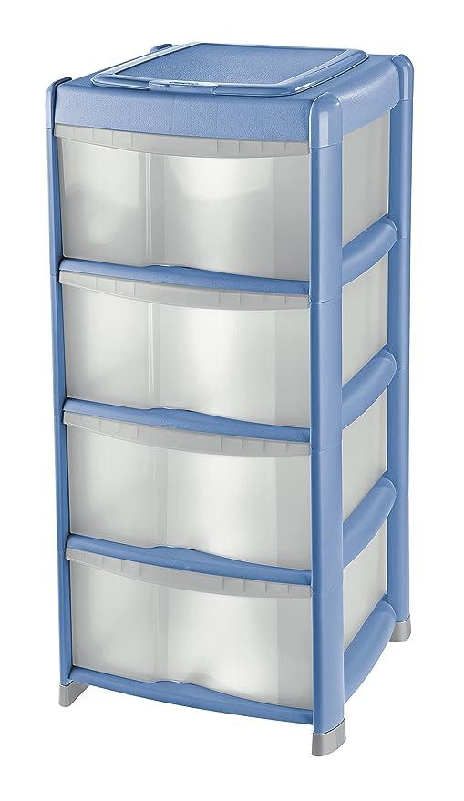 Tontarelli Cassettiere Plastica.Tontarelli Bambu Plus Cassettiera 4 Cassetti Alti Con Coperchio Porta Oggetti Trasparente Azzurro 39 5x38 5x85 5 Cm