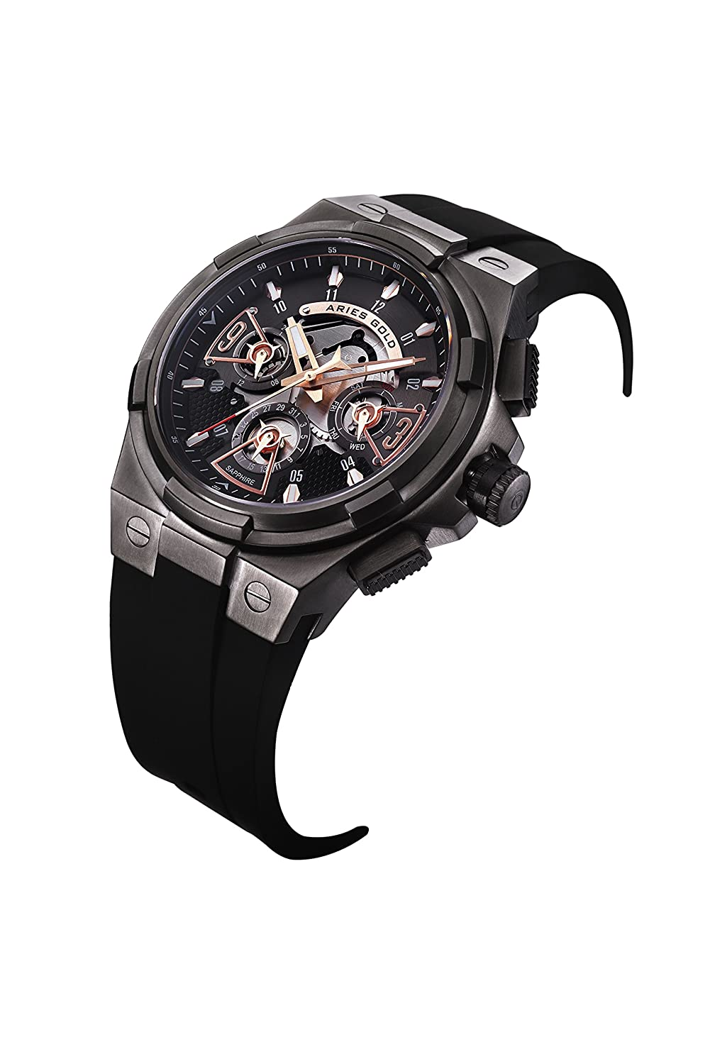 Amazon.com: Aries Gold│LIGHTNING│G 7003 BK-BKRG│Mens Wrist Watch│High-Tech Silicone Strap│Layered Dial - Black Rose Gold: Watches