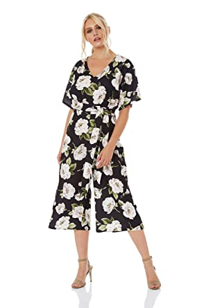 2059d89ae93 Roman Originals Women Floral Wrap Front Kimono Culotte Short Sleeve Jumpsuit  - Ladies Fashion Jumpsuits for Daytime Wedding Christening Party Birthday  ...