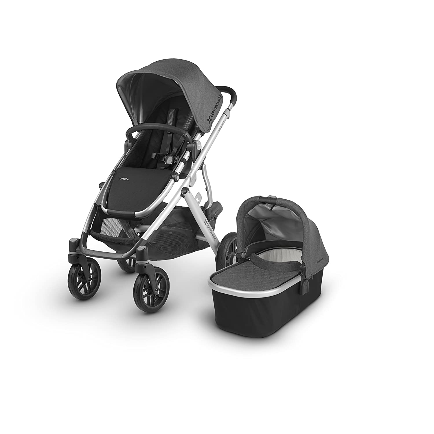2018 UPPAbaby Vista Stroller -Jordan Charcoal Melange Silver Black Leather