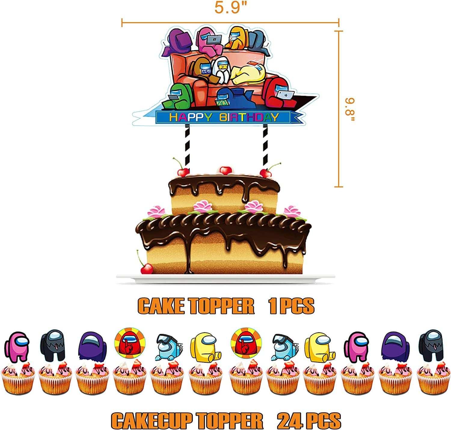 Including Among Us theme Party Banners Knives Spoons Cake Toppers Among Us Party Supplies Among Us Birthday Decorations for Among Us Themed Kids Birthday Party Forks Table cover Plates Balloons Napkins