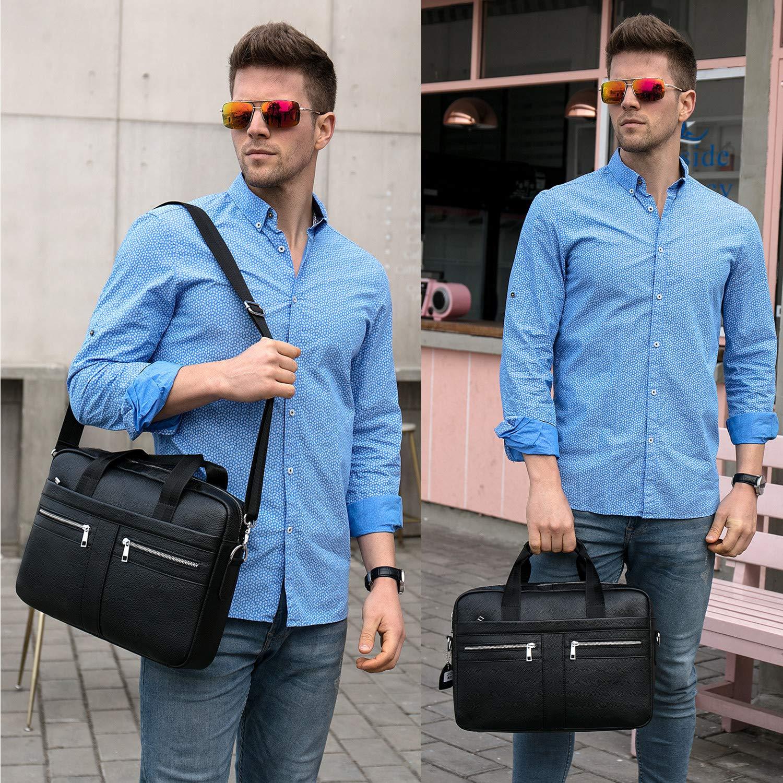 BAIGIO Men's 14'' Laptop Briefcase Genuine Leather Business Satchel Handbag Shoulder Tote Bag (Black) by BAIGIO (Image #6)