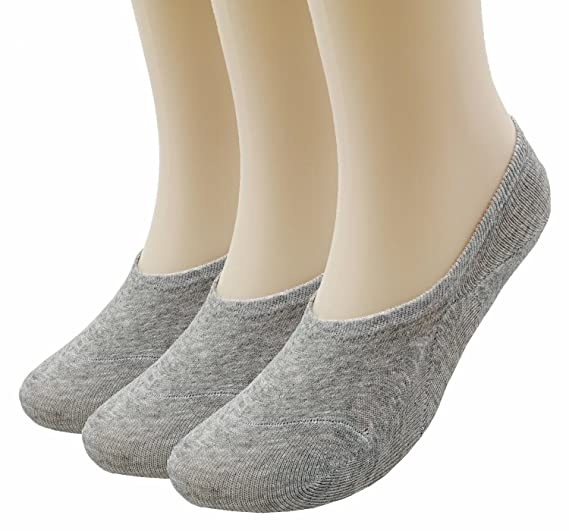 Prefer Green Women's 6 Pairs Thin Casual No Show Socks Anti-Slip Cotton Sock (Grey (3 Pairs))