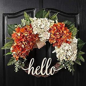 QUNWREATH 18 Inch Fall Wreath,Hydrangea Wreath,Wreath for Front Door,Hello Werath,Farmhouse Wreath,Grapevine Wreath,Everyday Wreath,QUNW55
