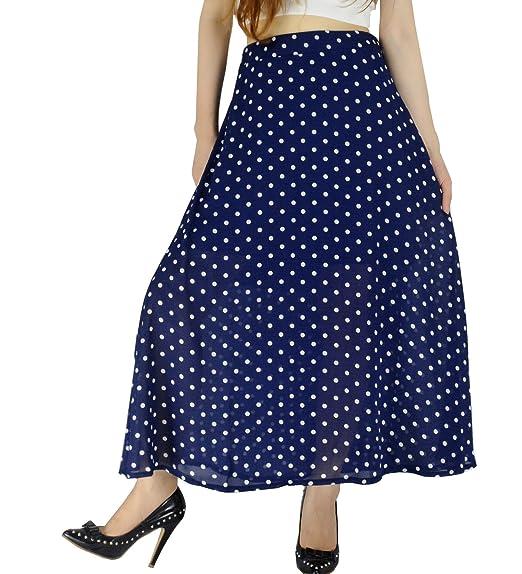 f16bfb8606 YSJ Women's Polka Dot Chiffon Long Skirt Chic Summer A Line Swing Skirts (M,