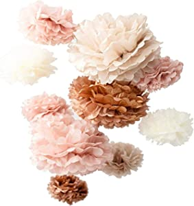 Vidal Crafts 20 PCS Dusty Pink, Rose Gold, Ivory, Pastel Grey, Tissue Paper Pom Pom Kit, 14