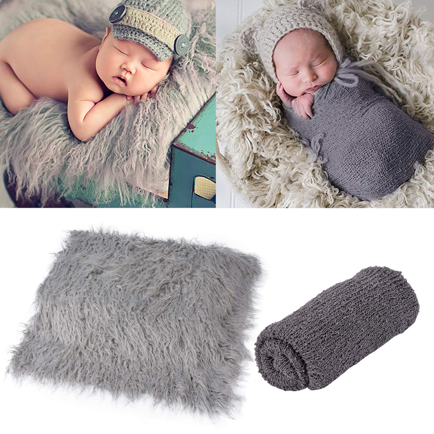 Outgeek Newborn Baby Photography Props Photo Blanket Long Hair Photography  Wrap Shaggy Area Rug Baby Photo Prop Grey and Dark Grey