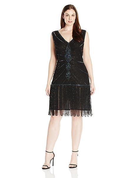 Unique Vintage Women\'s Plus-Size 1920s Deco Beaded Fringe Aelita Flapper  Dress