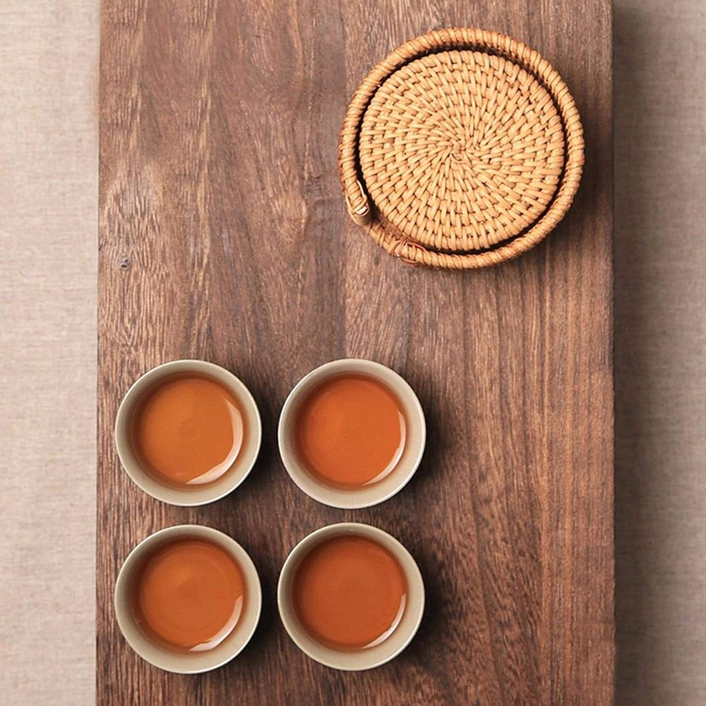 LAQI Rattan Weave Cup Mat Pad Creative Drink Coasters Set 8CM para Kungfu Tea Accessories Vajilla Redonda Mantel Individual Mantel para Plato 6Pcs