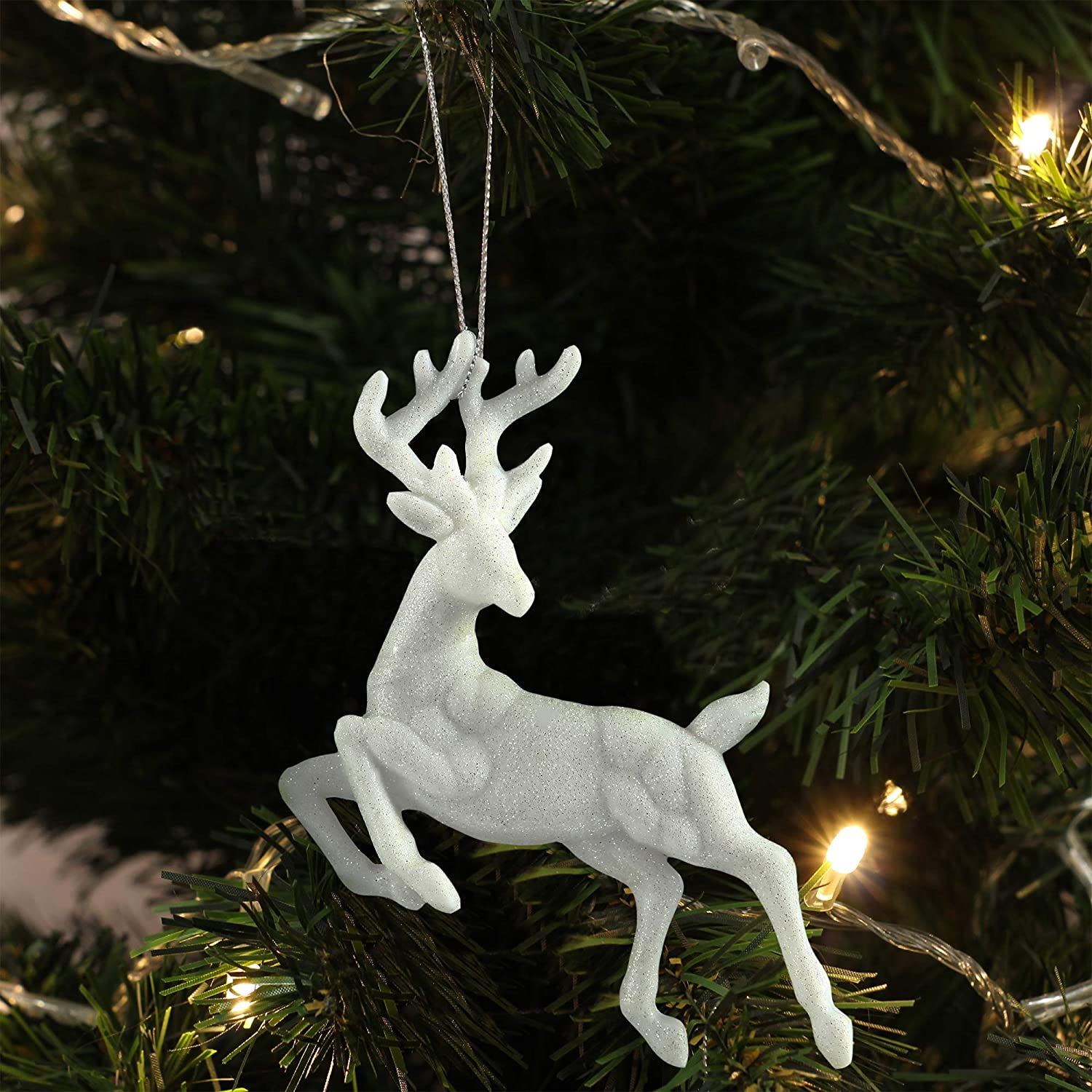 Reindeer Ornaments for Christmas Tree, Plastic Glitter Reindeer Hanging Figurine Ornament Set of 2 Packs for Christmas Decoration, 5.5 Inches Height (2)