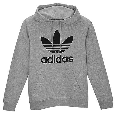 [アディダスオリジナルス] adidas Originals Trefoil ロゴ RGLN パーカー グレー x 黒 [並行